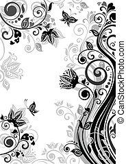 floral, ouderwetse , (black, spandoek, wh
