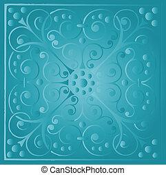 floral, ouderwetse , blauwe , luxe