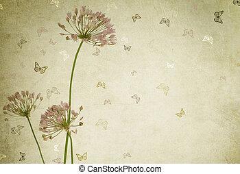 floral, ouderwetse , border., ontwerp, gestyleerd