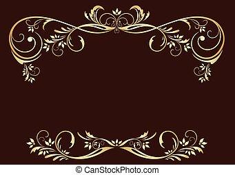 floral, ouderwetse , frame, goud