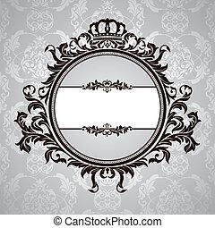 floral, ouderwetse , frame, koninklijk