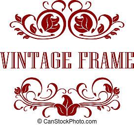 floral, ouderwetse , frame, mooi