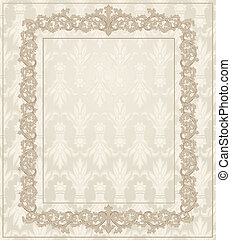 floral, ouderwetse , frame, ornament, classieke