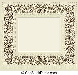 floral, ouderwetse , frame, ornament