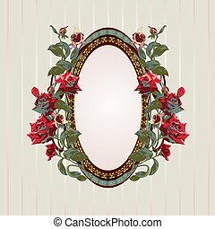 floral, ouderwetse , frame, rozen