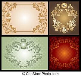 floral, ouderwetse , frame, set
