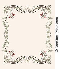floral, ouderwetse , frame, tulpen