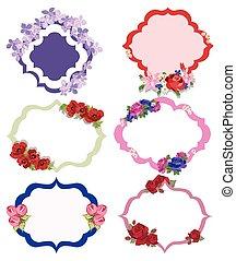 floral, ouderwetse , frame, vector, set