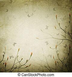 floral, ouderwetse , grens, mooi