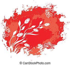 floral, ouderwetse , grunge, achtergrond