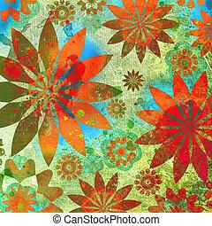 floral, ouderwetse , grunge, achtergrond, plakboek