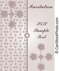 floral, ouderwetse , kaart, versieringen, uitnodiging