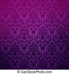 floral, ouderwetse , pattern., achtergrond, damast