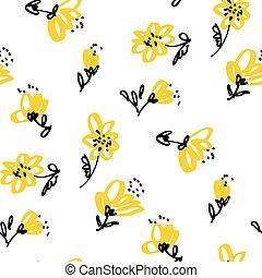 floral, ouderwetse , pattern., seamless, gele