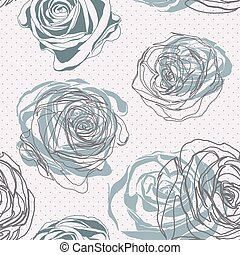floral, ouderwetse , roos, style., model