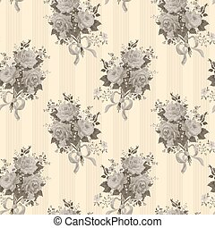 floral, ouderwetse , sepia, achtergrond, rozen