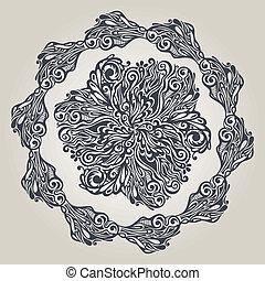 floral, ouderwetse , stijl, ontwerpen basis