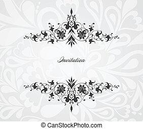 floral, ouderwetse , vector, frame., achtergrond