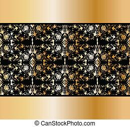 floral, ouderwetse , vector, gouden, achtergrond.