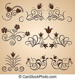 floral, ouderwetse , vector, ontwerp, elements.