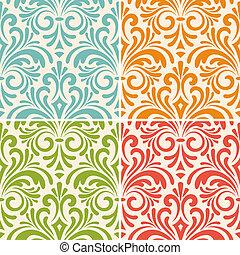 floral, ouderwetse , vector, seamless, motieven