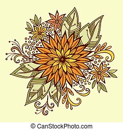Pattern, Symbolic Colorful Flowers and Leafs, Floral Ornament. Vector