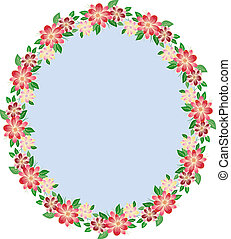 Floral oval frame-arrangement of a bouquet of stylized...