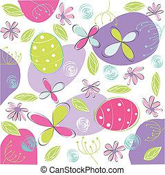 floral, páscoa, cartão