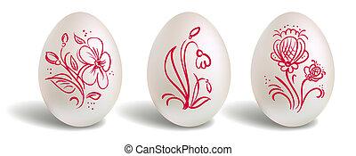 floral, páscoa, elementos, ovo, vermelho