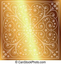floral példa, háttér, arany