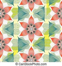 floral példa, lineáris, színes, seamless