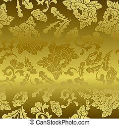 floral példa, seamless, arany