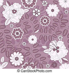 floral példa, seamless, ibolya