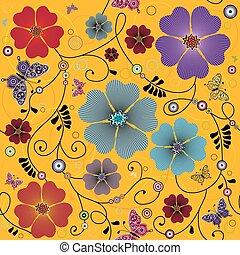 floral példa, seamless, sárga