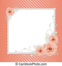 floral, pérolas, quadro