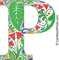 Floral P - Colorful floral initial capital letter P