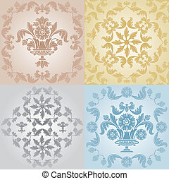floral, padrão, papel parede, seamless