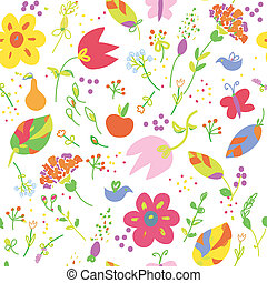 Floral painting seamless wallpaper with fruits funny design