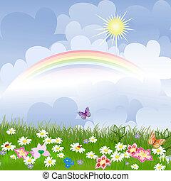 floral, paisaje, con, arco irirs