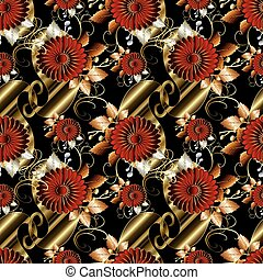 Floral paisley seamless pattern. Black vector background wallpap