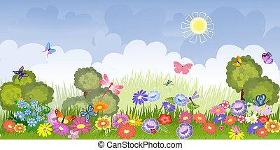 floral, panorama, pelouse