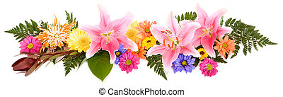This is a colorful floral arrangement isolated on white.