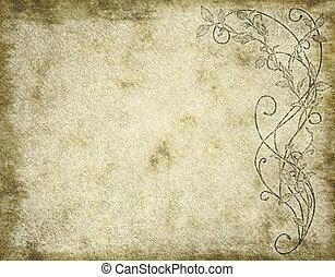 floral, papel, o, pergamino