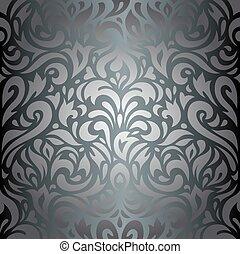 floral, papel parede, prata, luxo