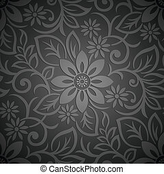floral, papel parede, real, seamless