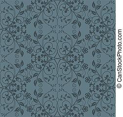 floral, papel parede, seamless, cinzento