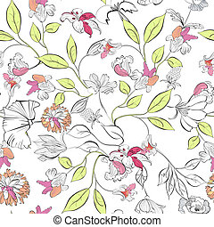 floral, papel parede, seamless