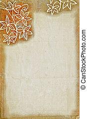floral, papier, frontière, textured