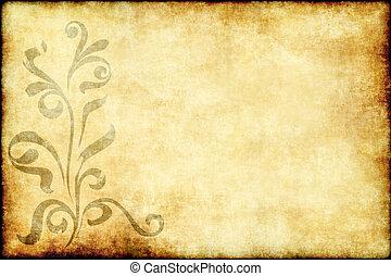 floral, papier, oud, perkament