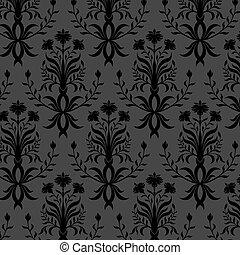 floral, papier peint, noir, seamless